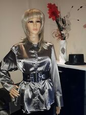 Ladies womens TV/CD satin Secretary , Long  Sleeve Blouse Chemise Size 20 UK
