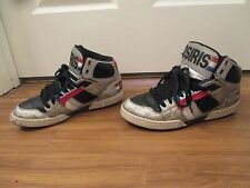 Used Worn Size 9 Osiris NYC 83 Skateboard Shoes Silver Black Blue Red White