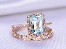3Ct Emerald Cut Aquamarine Diamond 14K Rose Gold Over Bridal Set Engagement Ring