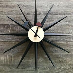 Mid-Century Modern Furniture Black Kitchen Wall Clock Retro Style