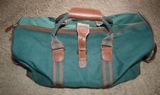 Vintage Polo Ralph Lauren Travel Duffle Carry All Bag Green Brown Canvas Leather