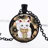 Maneki Neko necklace Black Glass Cabochon Necklace chain Pendant Wholesale