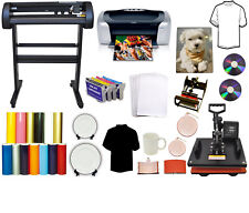 "24"" 500g METAL Vinyl Cutter Plotter,5in1Combo Heat Press,Printer,Refil,PU Vinyl"