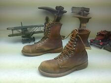 DISTRESSED LEHIGH STEEL TOE LACE UP BROWN LEATHER ENGINEER PACKER BOOTS SIZE 9 B