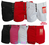 Womens Miss Sexies Designer Girls Black White Shorts High Low Waisted Hotpants