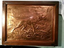 Vintage English Embossed Copper Arts & Crafts Foxhound Dog Plaque