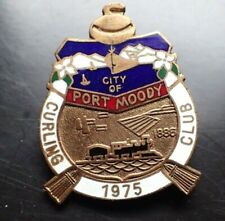 Vintage Curling Club Pin - City of Port Moody Curling Club 1975