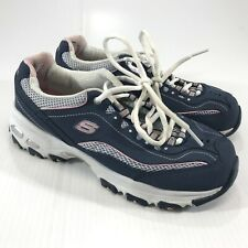 Sketchers Women's D Lights Blue Pink Leather Tennis Shoes Size 7