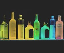 LIGHTED LIQUOR BOTTLE DISPLAY, SHOT BAR SHELF REMOTE MULTI COLOR LED OVER 3'long