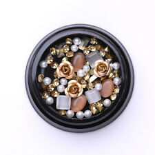 Metal Rose Champange Round Opal Crystal Gems Beads 3D Nail Tips Decoration #2