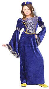 Renaissance Maiden Girl's Costume Medieval Fancy Dress Child Royal Blue Gold New