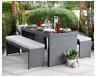 Outdoor Patio Dining Set Table Wicker Picnic Backyard Cushion Benches Porch
