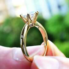Prong 14K Solid Yellow Gold Ring Engagement Ring 1.60Ct Near White Moissanite 6