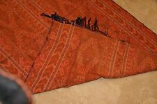 Hand woven textile geometric motifs vintage Ikat Liquidation orange thick warm