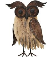 Wood Bird Figurine Home Decor Accent, Rustic Owl Statue Tabletop Decoration