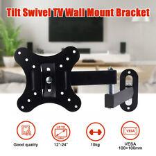 Cold Steel Tilt Swivel TV Wall Mount Bracket For 12-24 Inch Monitor Stand Holder
