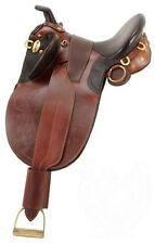 16 Inch Australian Stockpoly Saddle - Dark Oil Leather - Horn - Regular Tree