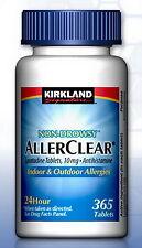New AllerClear Non-Drowsy Allergy Loratadine 10mg 365 Tablets Kirkland Medicine