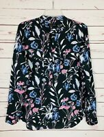 IVANKA TRUMP Black Floral Spring Button Blouse Top Shirt Career Women's M Medium