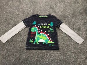 Boys Dinosaur Christmas Top Size 4-5 Years Great Condition