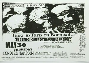 THE SISTERS OF MERCY AT FENDERS BALLROOM, LONG BEACH CA PUNK ROCK CONCERT POSTER