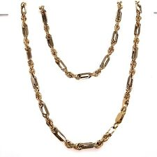 """10K Two Tone Gold 4 MM 22"""" Figarope Milano Chain Necklace Mens 21.8 Grams"""