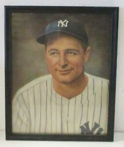 Lou Gehrig Framed Picture - Approx. 8 1/2  x 10 1/2 - Good Condition