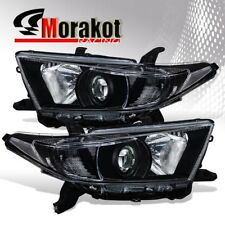 For 11-13 Toyota Highlander Projector Black Housing Headlights Clear Reflector