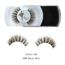 Luxurious 100% Real Horse Hair Natural Thick Eye Lashes Coffee False Eyelashes