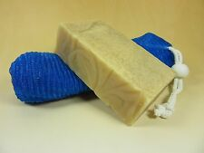 "Homemade Large Pure Natural Goat Milk Soap ""My Kinda Man"" w/Mesh Saver Great Sud"