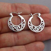 Filigree Hoop Earrings - 925 Sterling Silver - Post Snap Closure 20mm 25/32″