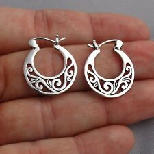 Filigree Hoop Earrings - 925 Sterling Silver - 5mm x 20mm Post Snap Closure NEW