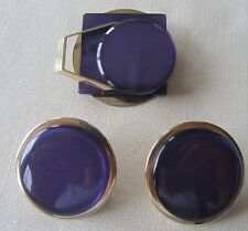 set of brooch and earrings Vintage gold tone purple lucite