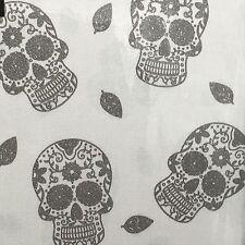 """Cynthia Rowley Tablecloth Sugar Skull Halloween Silver Shimmer 70"""" Round Cloth"""