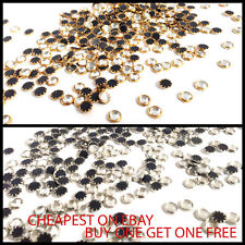 50pcs Hotfix Iron on or Glue on Rhinestones Diamante Gems Bead Arts & Crafts UK