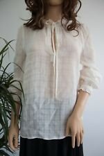 Next Cotton Summer Top Off white V neck Semi sheer Tunic Blouse Size 8 Comfy