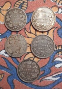 Canada - Five various 25 cents coins 1871. 1883. 1886. 1888. 1892.