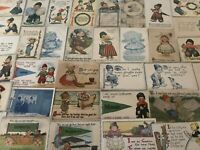 ~Big Lot of 40 Dutch Kids~ CHILDREN ~Antique Postcards~Comic~ children-greetings
