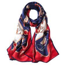 100% Silk Satin Women Scarf neckerchief Shawl long Wrap blue red orange S246-009