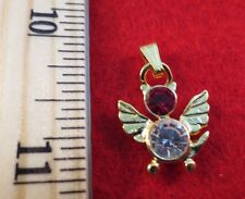 14 KT GOLD EP BIRTHSTONE JULY RUBY CAT ANGEL CHARM PENDANT