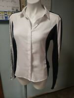 Womens Worthington Button Up Blouse Size M Black, White colorblock long sleeved