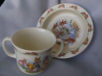 Vintage Royal Doulton Bunnykins Bowl & 2 Handled Cup Baby Child Set England