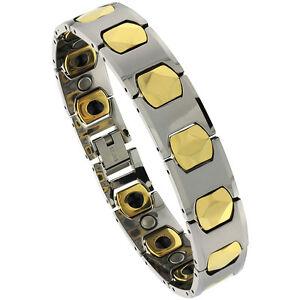 Tungsten Carbide Magnetic Bracelet, 2-Tone (Gun Metal & Gold) H & Cushion Links