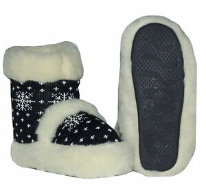 New Natural Sheep Wool Slippers Home Bootie Shoes   US SELLER Size 7.5-8 Black