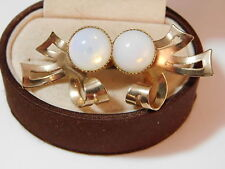 Vintage White Opaline Glass Faux Opal Gold Ribbon Bow Screw Back Earrings 3b 6