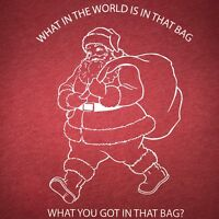 what in the world is in that bag christmas t shirt santa funny holiday xmas tee