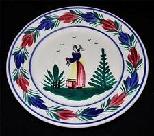 "Henriot Quimper Salad or Appetizer Plate, 7 1/8"", Woman or Lady Center, Faience"