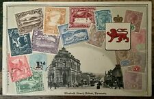 ANTIQUE PHILATELIC INTEREST PC EMBOSSED STAMPS OF TASMANIA ELIZABETH ST HOBART