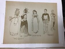 Vintage 'Snow White' Model Sheet Cel 3-Character Disney Studio c. 1937