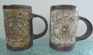 Two Vintage Handmade Quantock Pottery Tankards Mugs Modern Designs